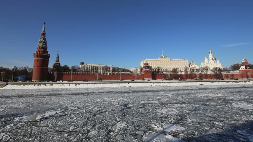 View of the Moskva River and the Kremlin (winter day), Moscow, Russia--the most popular view of Moscow | Shutterstock HD Video #1008452488