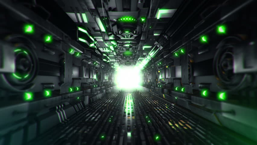 Animation flying into spaceship tunnel with light and sparkles. Journey in technology tunnel. Animation of seamless loop. #1008471610
