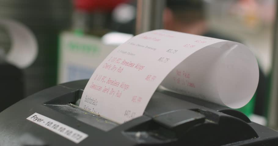 Printing Order Receipt Tickets in Restaurant Kitchen | Shutterstock HD Video #1008483037
