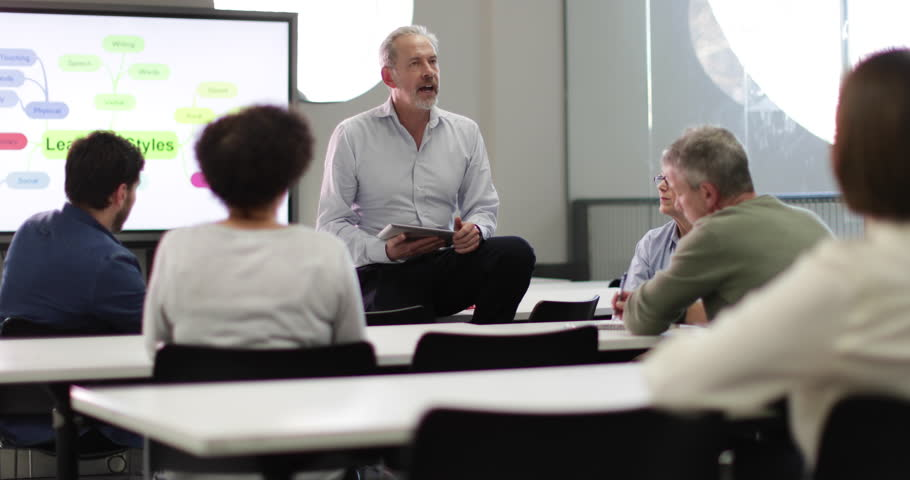Mature students on adult education course