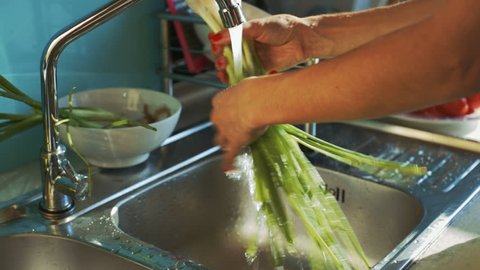 closeup lady hands wash fresh green onion bunch under water stream and shakes off above sink in kitchen