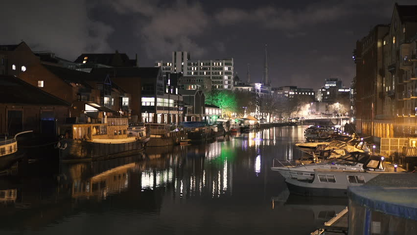 BRISTOL - March 09: Bristol Harbourside at Night, Boats & City Lights Reflection, Bristol UK Scenic on March 09, 2018 in Bristol, England. #1008506629