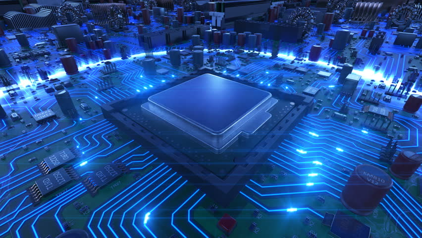 Processor Installation on the Motherboard Process with Blue Signals. Beautiful 3d Animation of Circuit Board and CPU with Blue  Flares. Technology and Digital Concept. 4k Ultra HD 3840x2160. Royalty-Free Stock Footage #1008529078