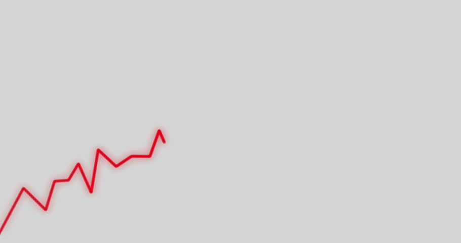 Insolvency Stock Crash of Loosing Investment Animation 4k Video in Red on White Background.