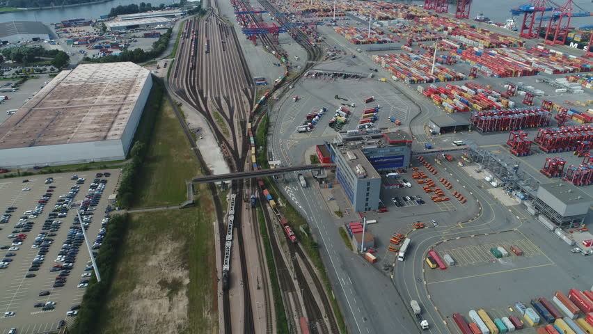 HAMBURG, GERMANY - SEPTEMBER 2017: Overhead view of cargo train and container terminal in Port of Hamburg in Germany