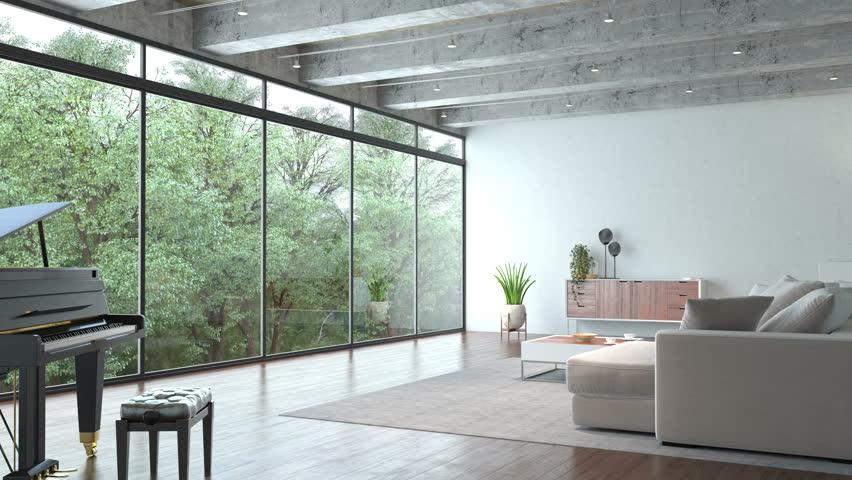 Loft interior with piano #1008556456