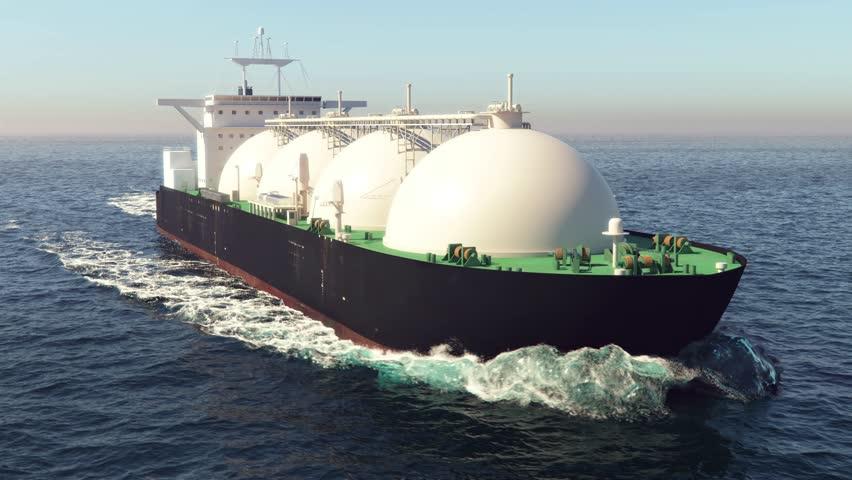 LNG tanker floating in the ocean