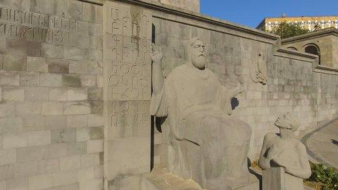 Sculpture of medieval Armenian linguist Mesrop Mashtots in Armenia, tourism