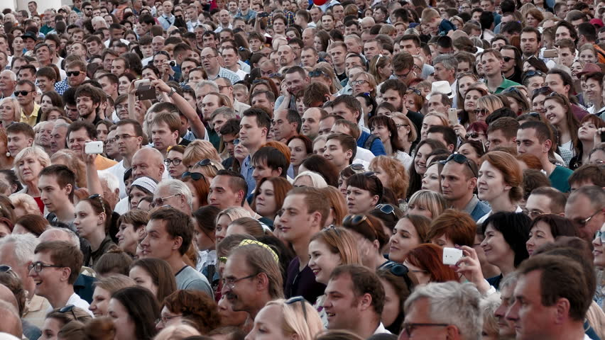 MINSK, BELARUS - JUN 30, 2017: The crowd happily applauds during the music in the open air concert in the town square. (av46474c) | Shutterstock HD Video #1008584884