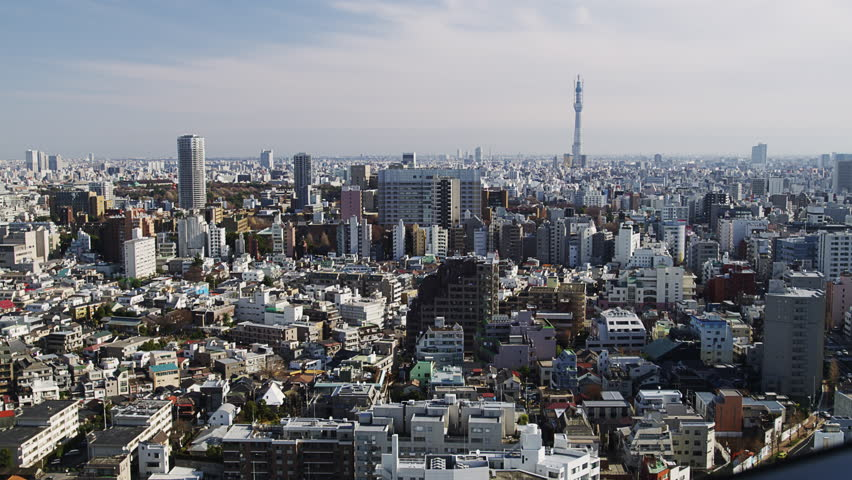 TOKYO, JAPAN - JANUARY 4, 2013: Elevated View of the City of Tokyo with the Sky Tree | Shutterstock HD Video #1008590143
