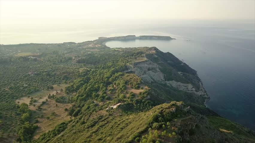 aerialshot view over tropical paradise Zakynthos, Greece