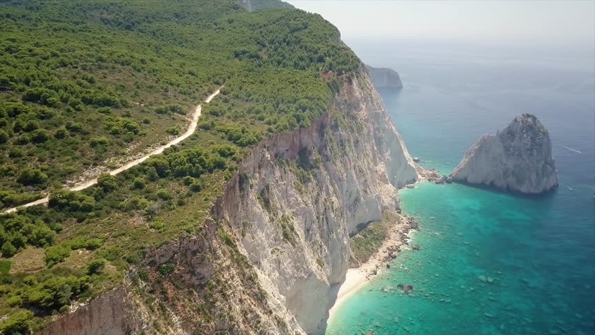 aerialshot view over tropical paradise Zakynthos, Greece
