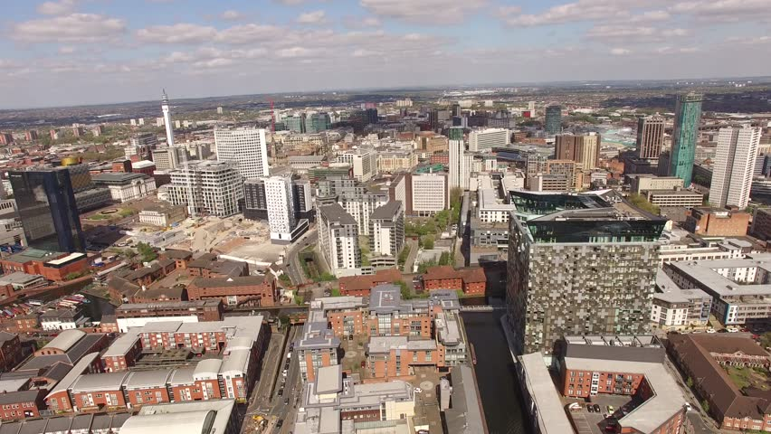 4k Aerial Birmingham Uk with Mailbox, Cube, Hilton Hotel, Birmingham council and city scape, smooth backward shot   Shutterstock HD Video #1008622315