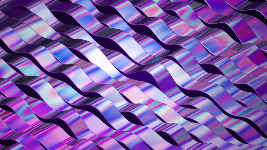 3D render abstract background footage. Colorful twisted lines in motion. Computer generated digital art animation. Holographic foil ribbons on dark background. | Shutterstock HD Video #1008627202