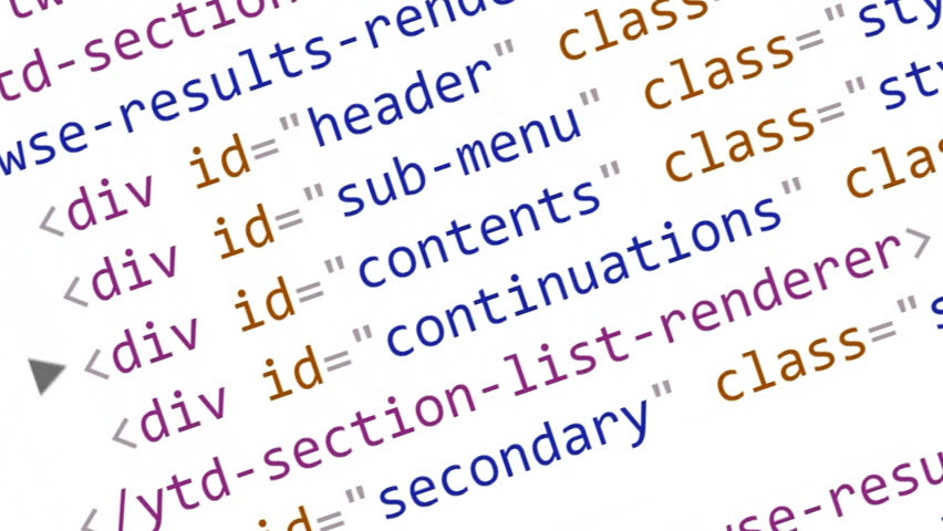 Scrolling HTML code on the computer screen on a white background   Shutterstock HD Video #1008627577