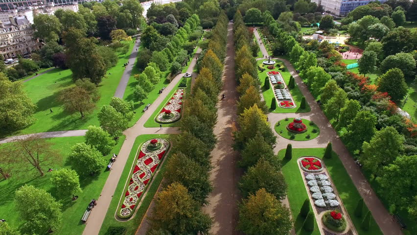 Beautiful Elegant The Regent's Park Gardens Aerial View feat. Decorative Design Flower Beds and Trees in London 4K   Shutterstock HD Video #1008627877