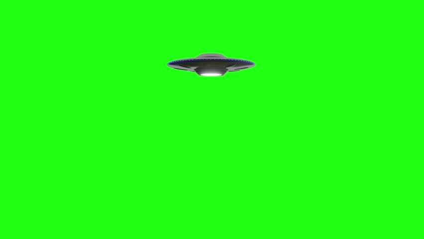 Flying Saucer UFO rotates moving over top of green screen. Moves over and away from camera into the distance green screen