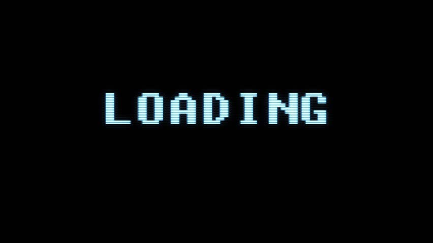 Retro videogame LOADING text computer old tv glitch interference noise screen animation seamless loop New quality universal vintage motion dynamic animated background colorful joyful video