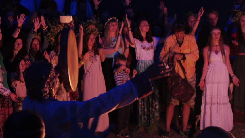 RUSSIA, ABRAU - JUNE 20, 2017: Pagan holiday on Ivan Kupala. Ethno-esoteric Festival of Kwammanga, June 20, 2017 in Abrau Russia | Shutterstock HD Video #1008649219