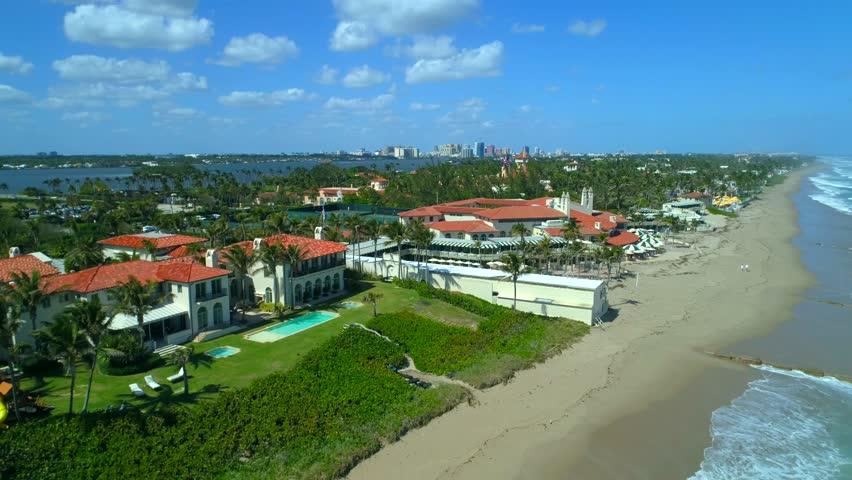 PALM BEACH, FL, USA - MARCH 6, 2018: Aerial video Mar A Lago Bath and Tennis Club 4k 60p Palm Beach Florida