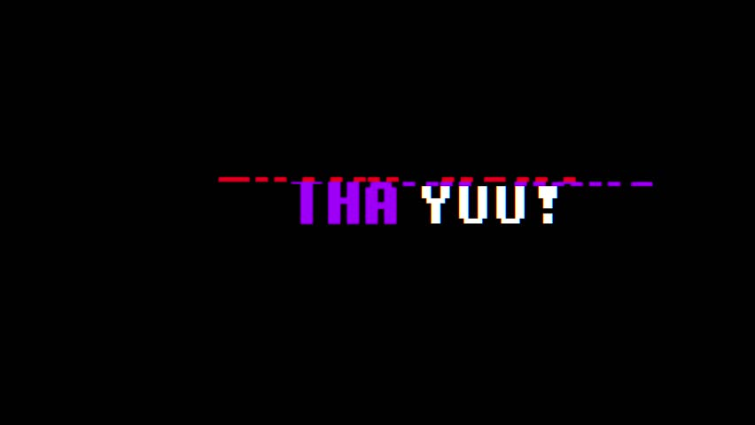 retro videogame THANK YOU text computer old tv glitch interference noise screen animation seamless loop New quality universal vintage motion dynamic animated background colorful joyful video