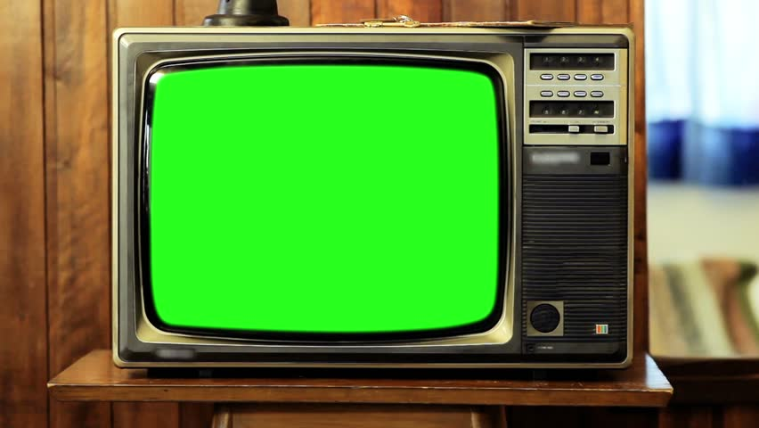 "1980s Television Green Screen. Zoom In. You can Replace Green Screen with the Footage or Picture you Want with ""Keying"" effect in After Effects (check out tutorials on YouTube). 