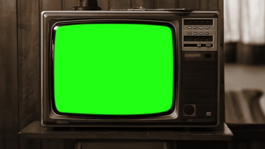 "1980s or 90s TV Green Screen. Sepia Tone. Zoom In. You can Replace Green Screen with the Footage or Picture you Want with ""Keying"" effect in After Effects (check out tutorials on YouTube).  