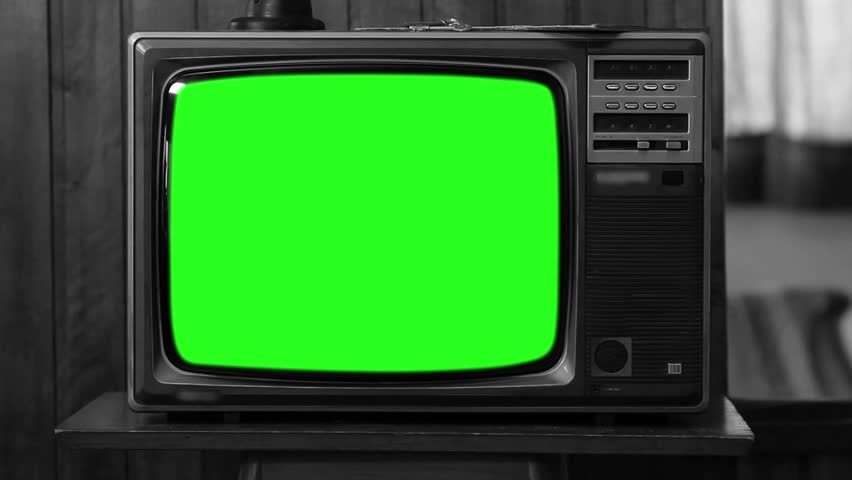 "80s TV with Green Screen. Black and White. Zoom Out Slow. You can replace green screen with the footage or picture you want with ""Keying"" (Chroma Key) effect in AE (check out tutorials on YouTube). 