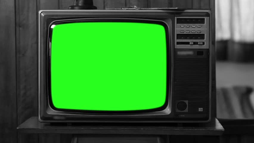 "90s TV with Green Screen. Black and White. Zoom In Slow. You can replace green screen with the footage or picture you want with ""Keying"" (Chroma Key) effect in AE (check out tutorials on YouTube). 