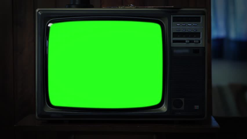 "80s TV with Green Screen at Night. You can replace green screen with the footage or picture you want. You can do it with ""Keying"" (Chroma Key) effect in AE (check out tutorials on YouTube). Zoom Out.  