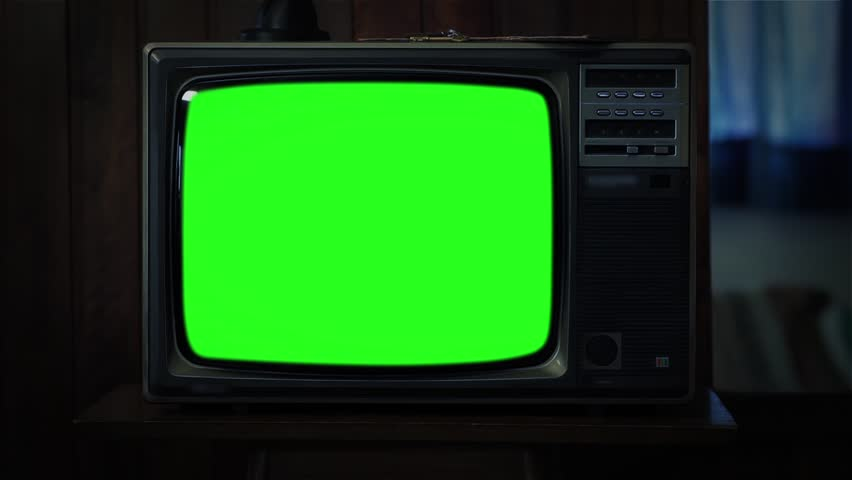 "80s TV with Green Screen at Night. You can replace green screen with the footage or picture you want. You can do it with ""Keying"" (Chroma Key) effect in AE (check out tutorials on YouTube). Zoom In.  