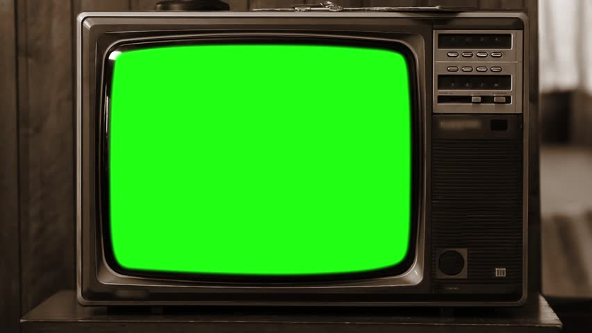 "80s TV with Green Screen. Sepia Tone. You can replace green screen with the footage or picture you want with ""Keying"" (Chroma Key) effect in AE (check out tutorials on YouTube). Zoom Out Fast.  