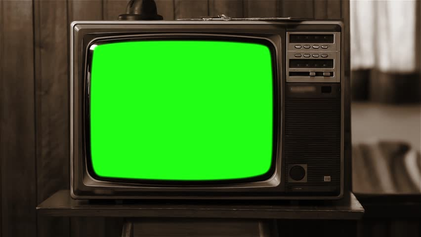 """80s TV with Green Screen. Sepia Tone. You can replace green screen with the footage or picture you want with """"Keying"""" (Chroma Key) effect in AE (check out tutorials on YouTube). Zoom In Fast."""