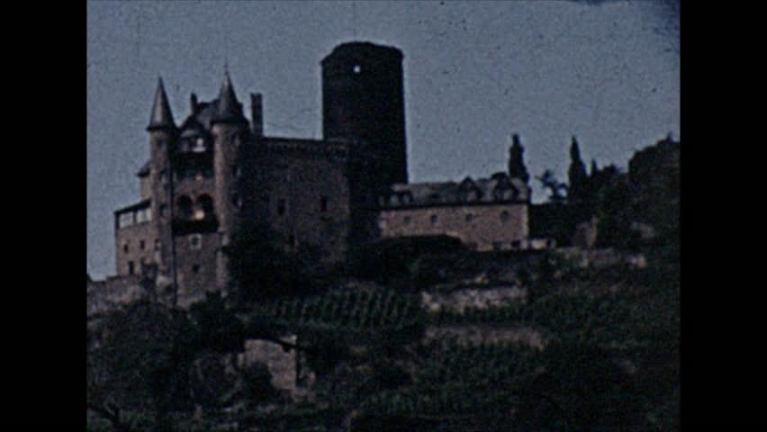 8mm vintage film of castle in switzerland. 1 June 1955   Shutterstock HD Video #1008699019