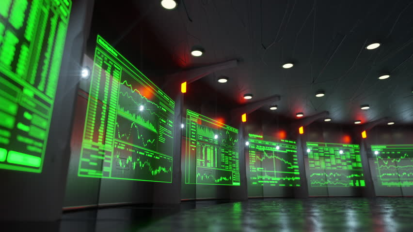 Low angle shot of holographic screens showing real time stock market data of blockchain based crypto currencies like Monero, Bitcoin, Litecoin, Ethereum, etc. | Shutterstock HD Video #1008721121