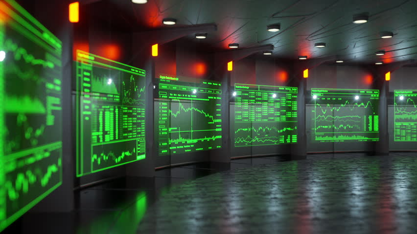 Animation of futuristic monitors displaying real time stock market information of blockchain based crypto currencies like Bitcoin, Monero, Ripple, Litecoin, Ethereum, etc. | Shutterstock HD Video #1008721127