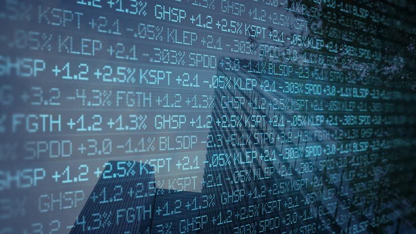 Blue digital ominous Stock Market Ticker scrolling past skyscraper - wall street concept | Shutterstock HD Video #1008729917
