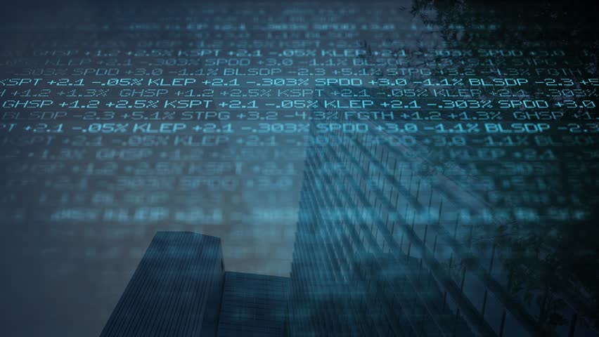 Blue digital ominous Stock Market Ticker scrolling past skyscraper ALT- wall street concept | Shutterstock HD Video #1008729920
