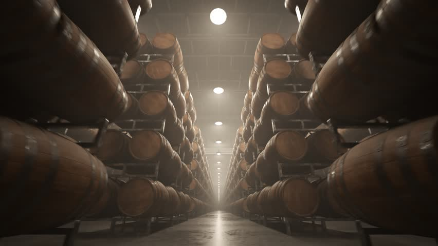 03264 Whiskey or wine barrels stacked in rows at the warehouse | Shutterstock HD Video #1008744497