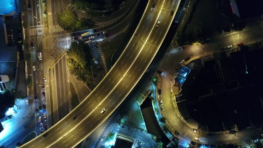 Aerial View Streets at Night - Sao Paulo Brazil #1008756371