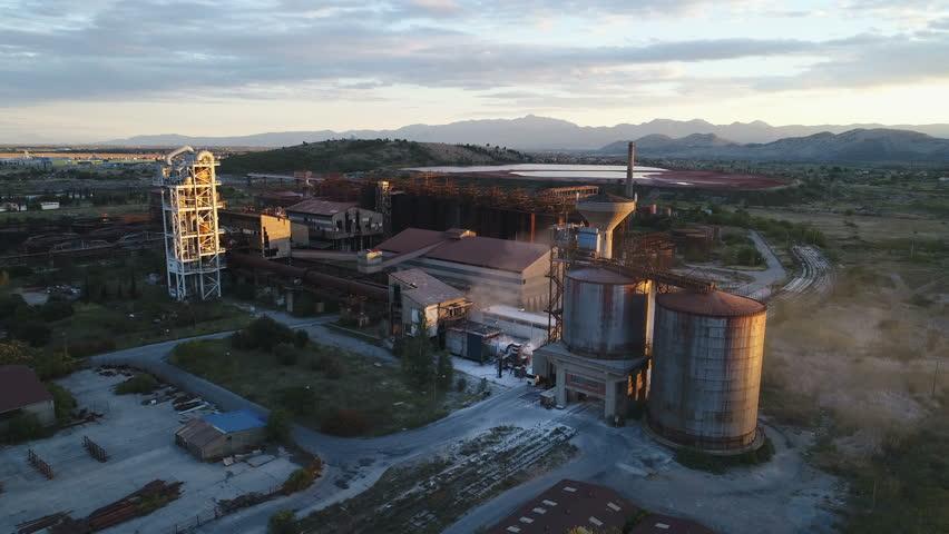 PODGORICA, MONTENEGRO - SEPTEMBER 2017: Aerial view of aluminum factory in Montenegro   Shutterstock HD Video #1008756485