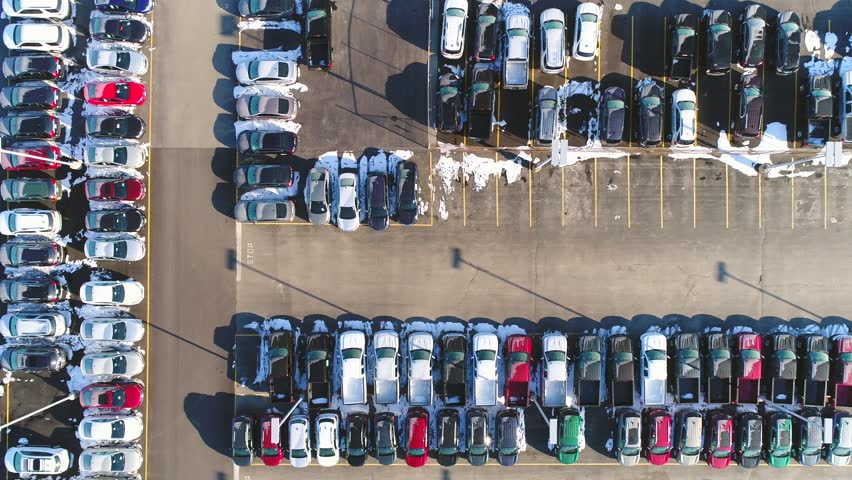 Car lot, in Springtime, many vehicles for sale, aerial view.  | Shutterstock HD Video #1008758813