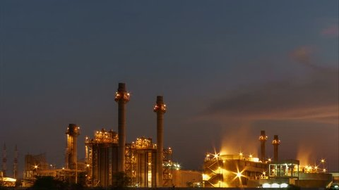 Time-Lapse Petrochemical plant at twilight  In the industrial area Eastern Thailand.
