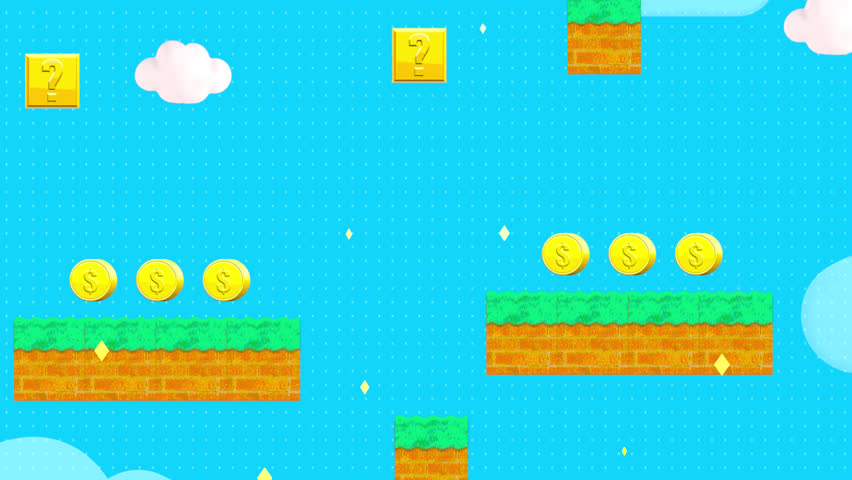 Classic retro video game style background. (Looped) #1008774149