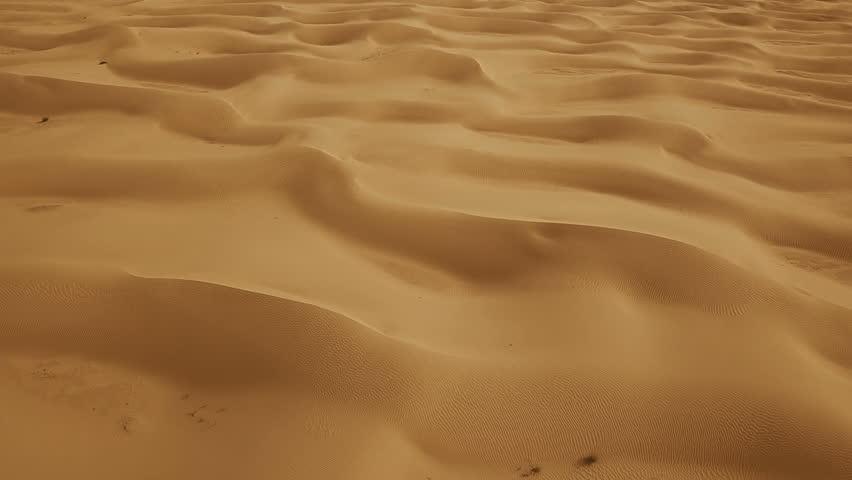 Aerial top view on sand dunes in Sahara desert, Africa