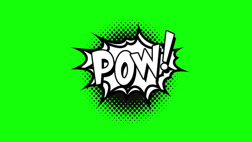 Comic strip speech bubble cartoon animation, with the words pow. White text, black shape, green background