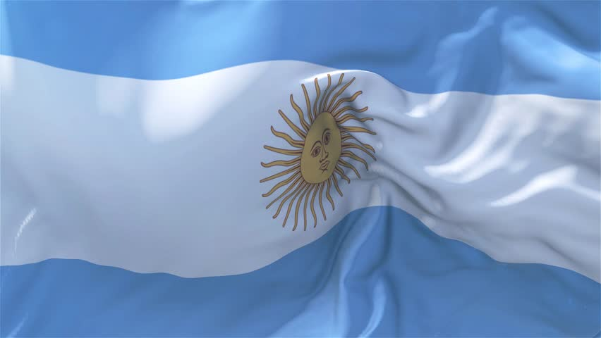 Argentina Flag in Slow Motion Classic Flag Smooth blowing in the wind on a windy day rising sun 4k Continuous seamless loop Background | Shutterstock HD Video #1008795965