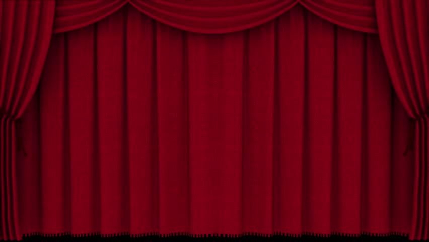 Realistic Red Curtain Opening Alpha Matte 3D Renderings Animations