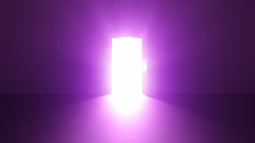 Door in a dark room opens and fills the whole room with blinding bright light 02 | Animation Stock Clip | Purple Violet Royalty-Free Stock Footage #1008826331