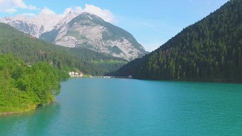 Lake of Auronzo, Italian Dolomites aerial view.